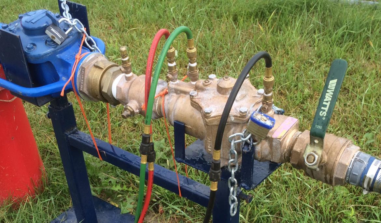 Backflow preventers like this Prescott, AZ unit protect fire systems.
